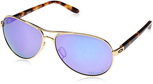 Oakley Women's OO4079 Feedback Aviator Metal Sunglasses, Polished Gold/Violet Iridium Polarized, 59 ()