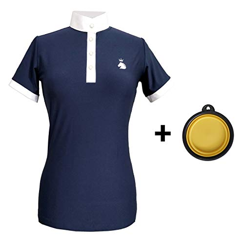 HR Farm Women's Short Sleeve Quick Dry Horse Riding Show Shirts with 1 Dog Bowl (Navy, S)