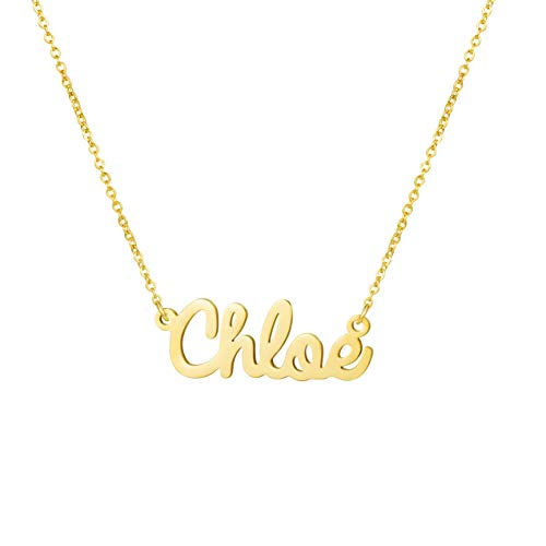 Yiyang Wedding Necklaces Fashion Name Necklace 18K Gold Plated Stainless Steel Jewelry Birthday Gift for Girls Chloe
