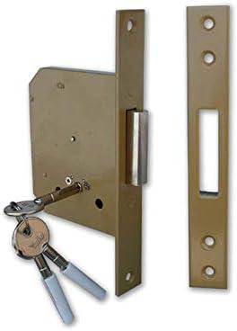 Cerradura de ponerse para puerta madera 56320 frontal de 23 mm, Caja y tapa de acero lacado. contropiastra incluida. Con clindro a Cruz Llave a tacón, tornillos para el montaje de la