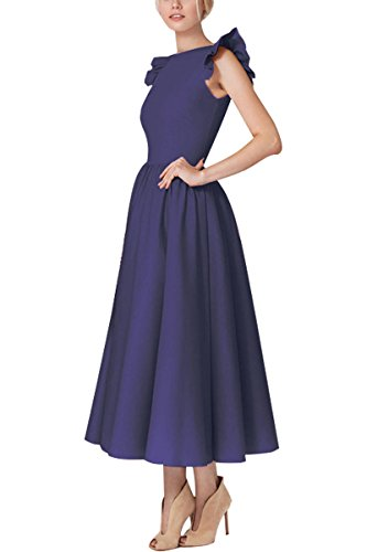 3 navy Pleated Maxi K Vintage Elegant YMING V Sleeve Blue Neck Dress Cocktail 4 Women's Deep Dress CAfZq8w