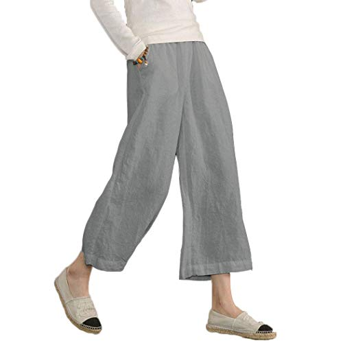 Ecupper Women's Elastic Waist Causal Loose Trousers 100 Linen Cropped Wide Leg Pants Light Gray, US 14-16=Tag 2XL