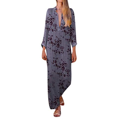 - Qingell Dress New, Women's V Neck Floral Printed High Low Maxi Dress Casual Lady Bohemia Summer Party Dress Gray