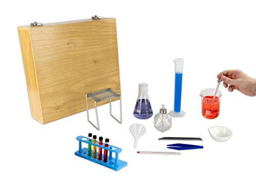 Kit Labware (Complete Chemistry Labware Kit with a Wood Case | 16 Piece Set | Includes an Activity Book | Become A Real Scientist Today)