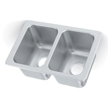 "Vollrath 102-1-1 Two Compartment Drop-In Sink 10""W x 14"" Front-to-Back x 10"" Deep Compartments"