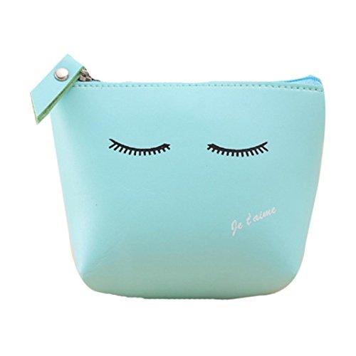 Rumas Women Girls Cute Fashion Coin Purse Wallet Bag Change Pouch Key Holder (Blue)