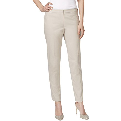 Calvin Klein Women's Slim Fit Lux Highline Pant With Button Closure, Khaki, 8 (Calvin Klein Khaki Pants)