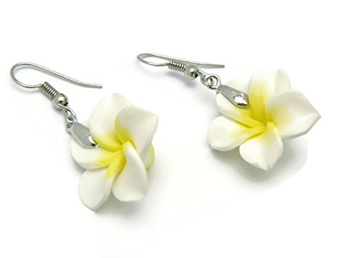 CHADADA Hawaiian Fimo Plumeria Flower Dangle Earrings Handmade, 20 mm (White), EH20 (Flower Hawaiian Fimo)
