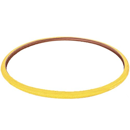 ZZ Lighting Creative Bicycle Tyre 700X23C Colored Tires for Single Speed Fixie Road Track Bike Fixed Gear Bike (Yellow)