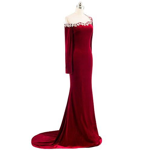With Velvet Black Prom Lanbaodress Jewel Cocktail Dress Neck Dress Formal Evening Court Train Party Beading nFnBCW8qp