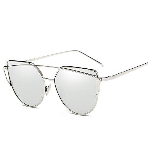 Mercury De Sol Sol De Color Gato De Ojo WHLDK De Fresco De Box White De Elegante Sol Gafas Silver Metal Gafas Gafas Pqa1w