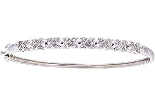Ladies' Diamond Bangle, 9ct White Gold, Illusion Setting 0.25 Carat Diamond Weight, Model PBC2336 ()