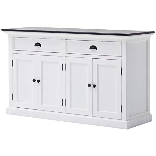 Beaumont Lane Buffet in Pure White and Black (Assembled)