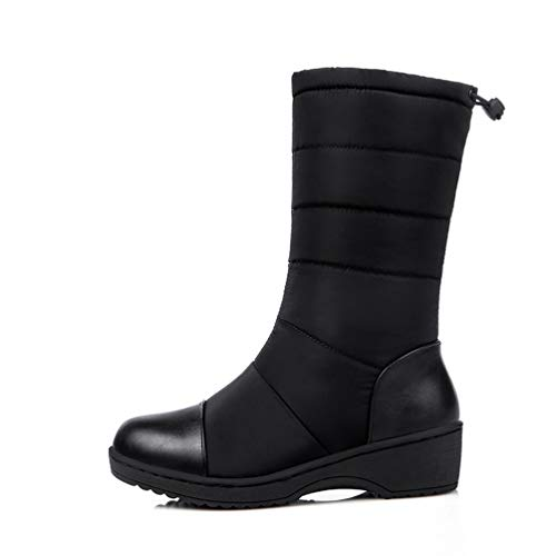 Mid Calf Boots Round Toe Drawstring Waterproof Warm Mid Wedges Platform Snow Boots ()