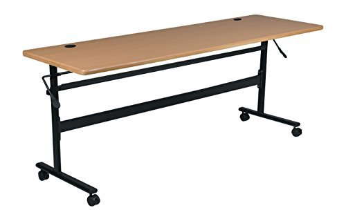 MooreCo Essentials Flipper Training Table 60x24 Teak Top Black Base (90093)