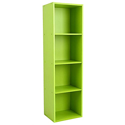 Cocoarm Wood Display Shelf Storage Bookshelf 3/4 Tier Bookcase Stand Rack Cube Unit (3/4 Cubes, Black/Green/White) (Green, 4 Cubes)