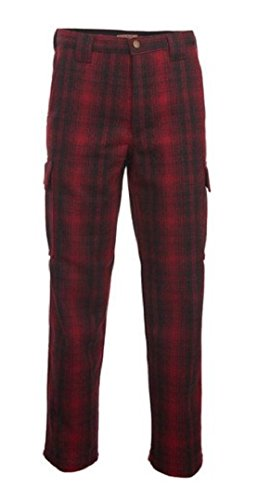 Plaid Wool Pants (Woolrich Men's Wool Cargo Hunting Pant Red and Black (44, Wool and Inseam 32 Inch))