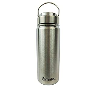 Omnia h2o Canteen -18oz Vacuum Insulated Stainless Steel Water Bottle - Wide Mouth Flask with All Metal Lid - Enjoy Hot and Cold Drinks in this Sweatproof Water Bottle (Pebble Beach)