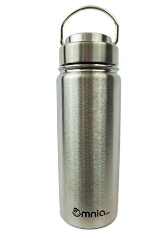 Sealed Metal (Omnia h2o Canteen -18oz Vacuum Insulated Stainless Steel Water Bottle - Wide Mouth Flask with All Metal Lid - Enjoy Hot and Cold Drinks in this Sweatproof Water Bottle (Pebble)