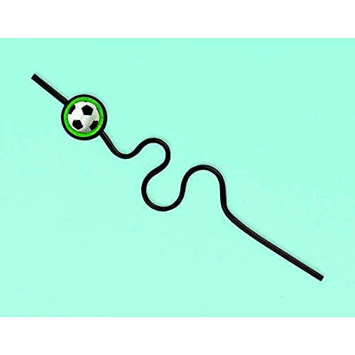 Toddler Soccer Player Halloween Costume (Soccer Goal Birthday Party Krazy Straw Favour, Plastic, 10