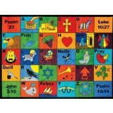 Joy Carpets Kid Essentials Inspirational Bible Phonics Area Rug, Multicolored, 7'8