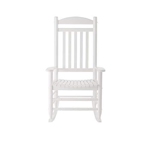 Hampton Bay IT-130828W Glossy White Wood Outdoor Rocking Chair