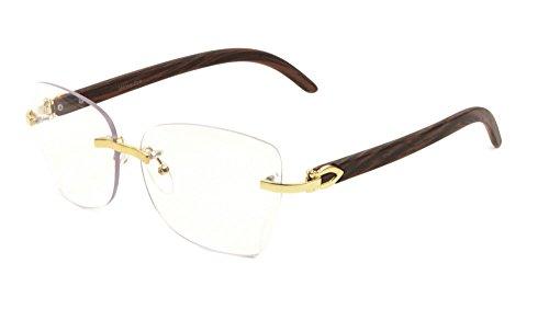 Debutante Womens Rimless Metal & Wood Eyeglasses / Clear Lens Sunglasses (Gold & Cherry Wood Frame, Clear) ()