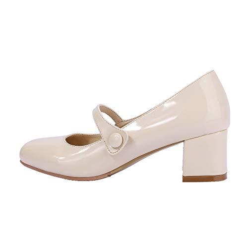 AgooLar Tacco Flats Puro Beige GMMDB006583 Donna Medio Ballet r8qrTP