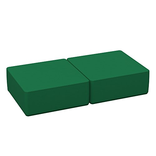 ECR4Kids SoftZone 30'' Square Kids Ottoman - Furniture for Classrooms, Daycares and Homes, Standard 16''(2-Pack) Green by ECR4Kids