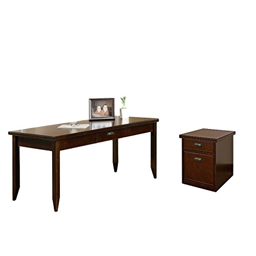 (Tribeca Loft Cherry Office 2 Piece Office Set with Filing Cabinet and Writing Desk in Cherry)