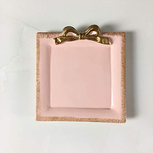 - Sweet FanMuLin Resin Multi-Function Plate Ring Dish Jewelry Dish Cake Dish Ring Holder Jewelry Organizer with Golden Edged Home Decor Wedding Gift Party Supply (Pink)