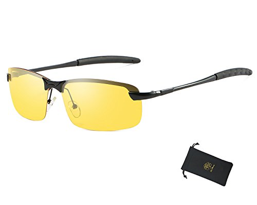 Red Peony Night Vision Sunglasses, Yellow Night Vision Square Rimless Anti Glare Polarized Sunglasses Safe Night Vision AORON Design - Uva Sunglasses Block Rays And That Uvb