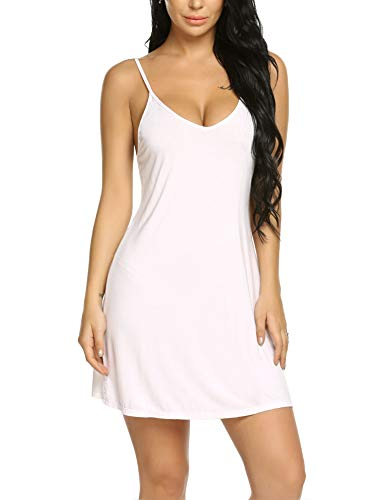 Avidlove Women's Chemise Modal Sleepwear Full Slip Lace Babydoll Nightgown Outfit White XXL ()