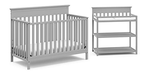 Crib and Change Table Nursery Furniture Set in A Box by Storkcraft - The Windard Set Includes a 4 in 1 Convertible Crib & Changing Table with Water-Resistant Change Pad, Pebble Gray