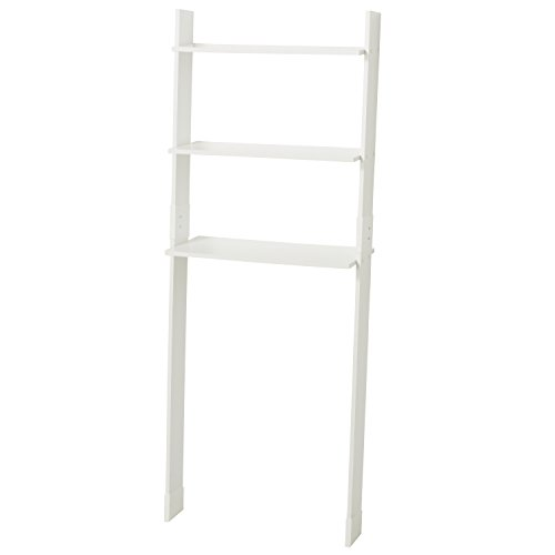 Zenna Home 9431W, Wood Ladder Bathroom Spacesaver, White (White Space Saver Toilet Bathroom Over)