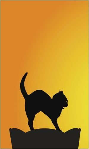 "WOWindow Posters Black Cat Halloween Silhouette Window Decoration 34.5""x60"" Backlit Poster"