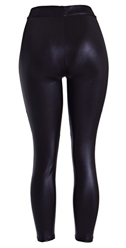 Womens-Sexy-Shiny-Metallic-Stretchy-Black-High-Waist-Faux-Leather-Leggings