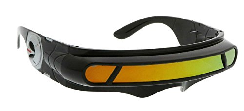 WebDeals - Futuristic Cyclops Wrap Around Monoblock Shield Sunglasses (Black, Red/Orange Revo) -
