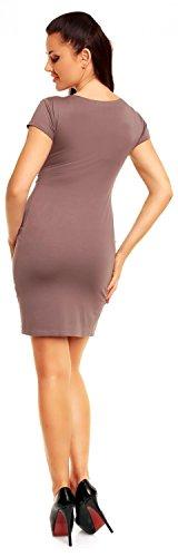 Zeta Ville Jersey Minivestido corte imperio Vestido cuello V - para mujer - 806z Cappuccino