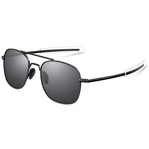 d20b75ec40a0 Mens Aviator Sunglasses 53mm TAC Polarized Lense Military Style Metal Frame  with Bayonet Temples