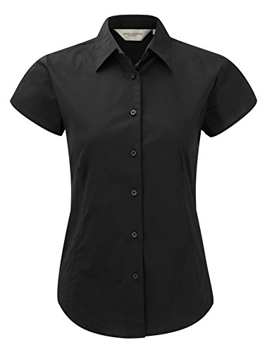 Russell Collection Ladies Short Sleeve Easy Care Fitted Shirt XS/8 Black