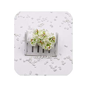 April With You 30 pcs/Batch Mini Silk Artificial Roses Bouquet Multicolor clipboard Flower Gift Box Decoration,Light Green 20