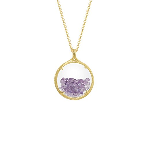 Birthstone shaker floating crystal stone Necklace (February Amethyst) by Catherine Weitzman