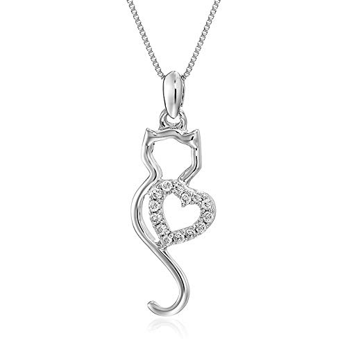 Vir Jewels 1/10 cttw Diamond Cat Pendant In 14K White Gold with 18 Inch Chain ()