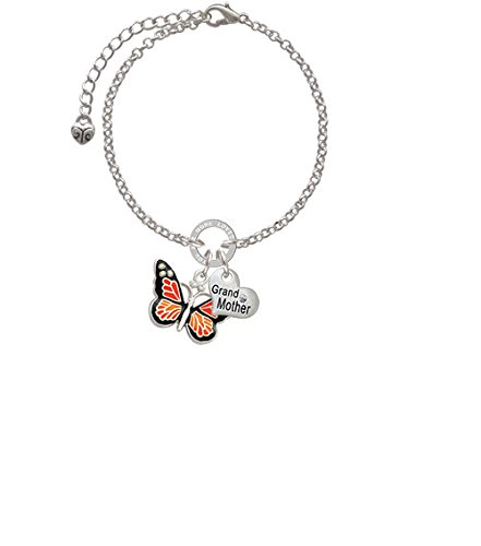 8 Silvertone Large Monarch Butterfly with 6 AB Crystals Grandmother You Are Loved Circle Bracelet