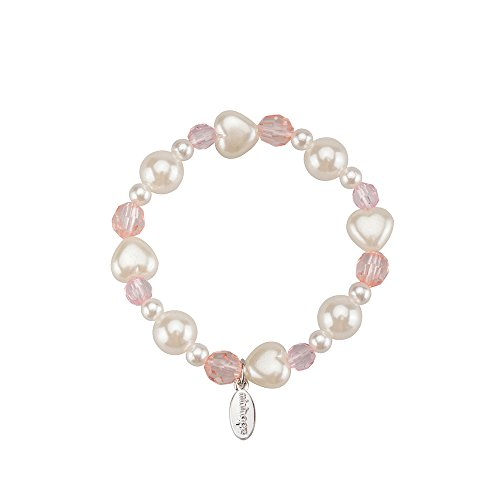 minihope Girls Fashion Bead Bracelet Charm Pearl Bracelet Vitality Stretch Bracelets for Little Girls Kids Jewelry Set of 3