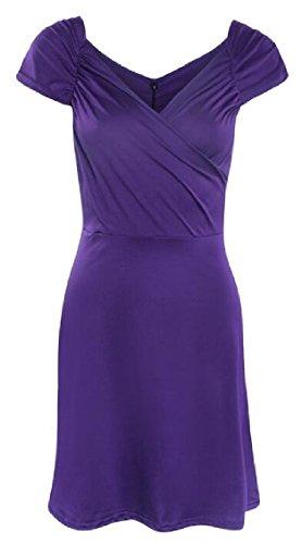 Jaycargogo Wrap Sexy Cocktail Moulante Sans Manches Col En V Midi Féminin Robe Violette