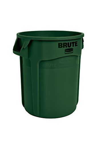 Rubbermaid Commercial FG262000DGRN BRUTE Heavy-Duty Round Waste/Utility Container, 20-gallon, Green