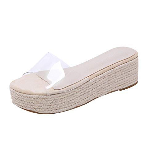 Benficial Summer Recreational Sandals Thick Sole High Heel Transparent Band Women Slippers Beige