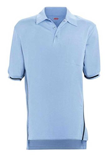 Adams USA Short Sleeve Baseball Umpire Shirt with Side Stripe - Sized for Chest Protector, Carolina Blue, Medium ()